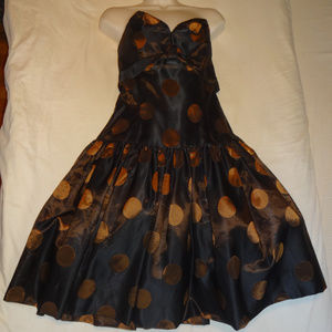 vtg Black and gold Victor Costa prom/party dress M